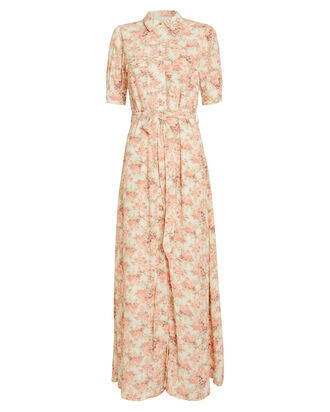 Lydia Floral Print Shirt Dress, PINK, hi-res