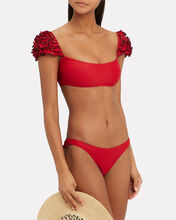 Red Ruffle Detail Bikini, RED, hi-res