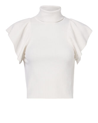 Jae Ruffle Knit Top, WHITE, hi-res