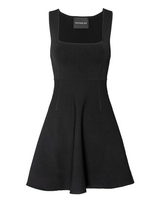 Milano Square Neck Mini Dress, BLACK, hi-res