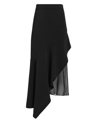 Asymmetrical Chiffon High Waist Skirt, BLACK, hi-res