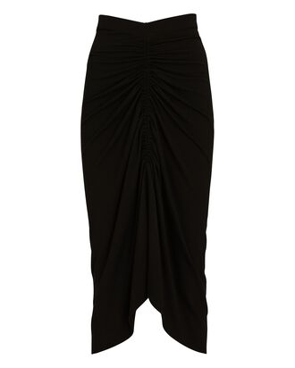 Ruched Jersey Midi Skirt, BLACK, hi-res