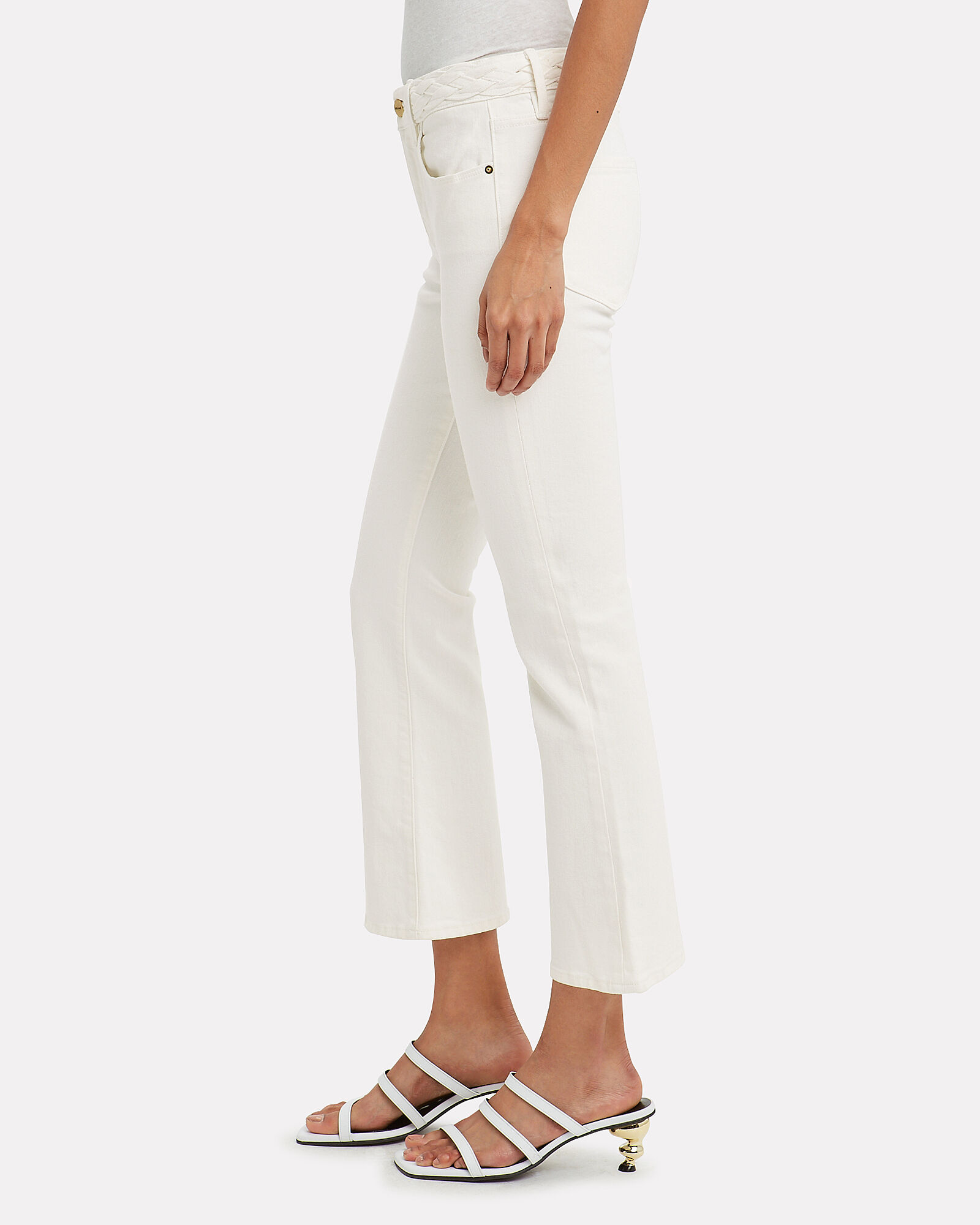 Le Crop Braided Waistband Jeans, WHITE DENIM, hi-res