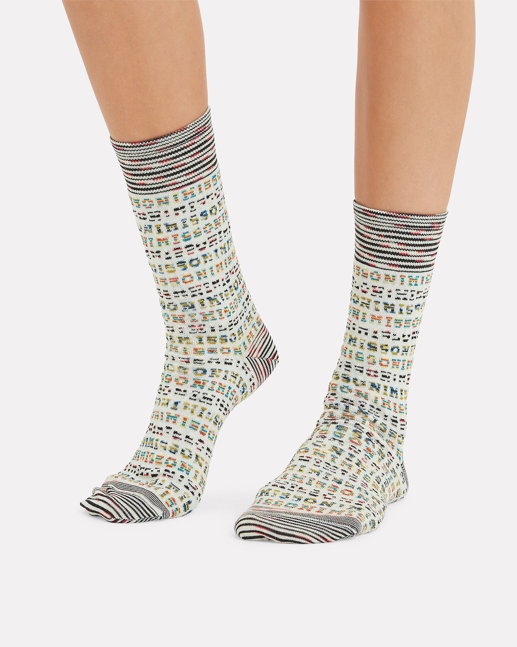 Logo Knit Socks, WHITE/MULTI, hi-res
