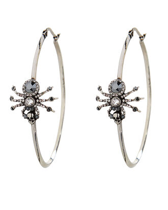 Spider Crystal Hoop Earrings, SILVER, hi-res