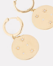 Crystal Starburst Huggie Hoops, GOLD, hi-res