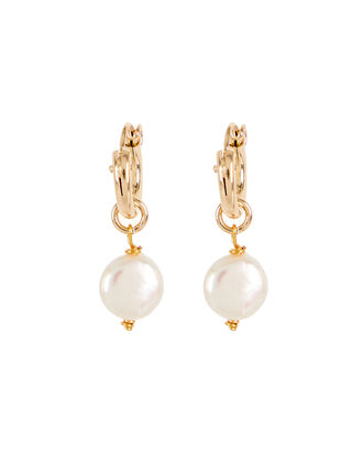 Enchanted Pearl Drop Huggie Earrings, GOLD, hi-res