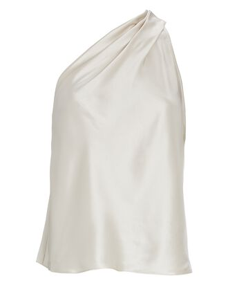 One-Shoulder Silk Tank Top, IVORY, hi-res