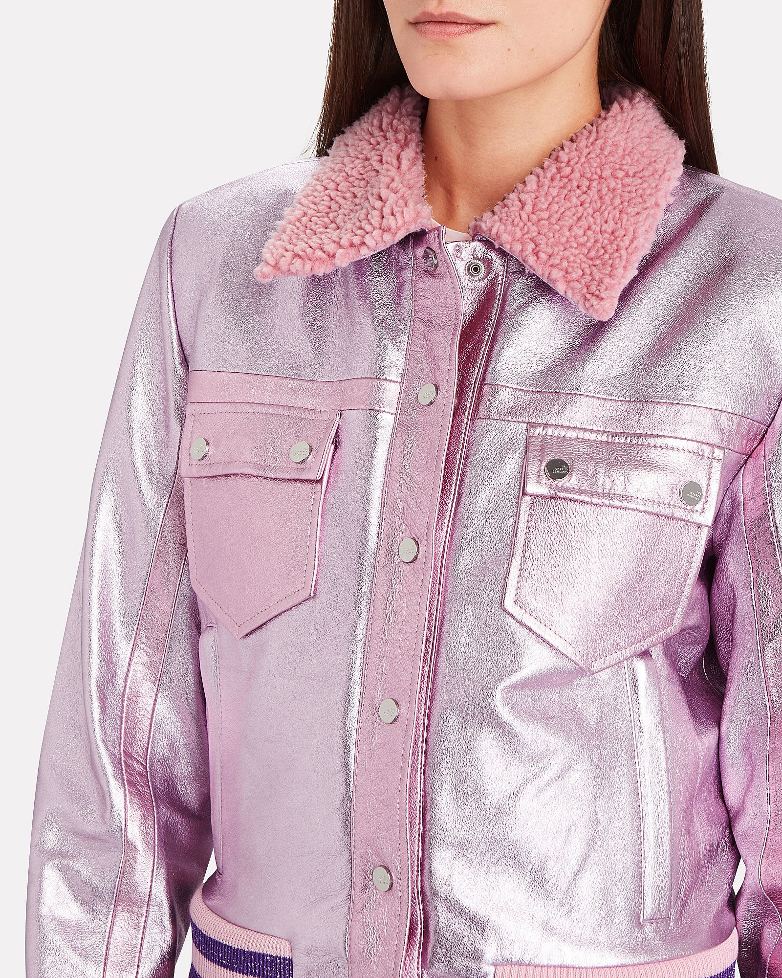 The Early Leather Trucker Jacket, PINK, hi-res
