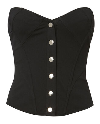 Snap Front Corset Top, BLACK, hi-res