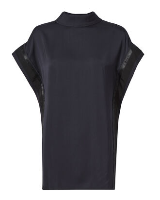 Boxy Funnel Neck Blouse, NAVY, hi-res