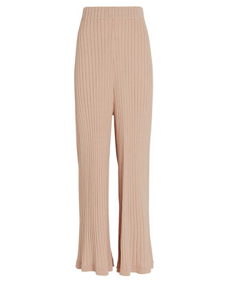 Debbie Rib Knit Wide-Leg Pants, IVORY, hi-res
