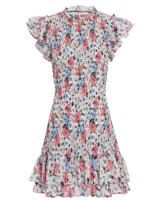 Cici Ruched Floral Mini Dress, RED/BLUE FLORAL, hi-res