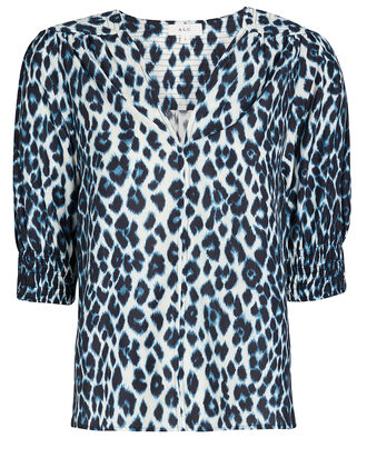 Elton Leopard Puff Sleeve Top, , hi-res