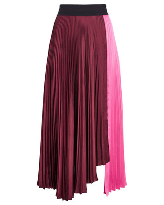 Grainger Pleated Colorblock Skirt, MERLOT/PINK, hi-res