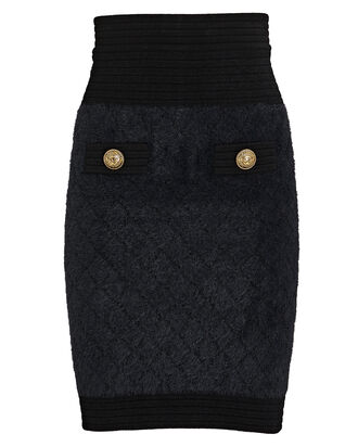 Diamond Knit Mini Skirt, BLACK, hi-res