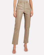 Leather Cigarette Trousers, BEIGE, hi-res