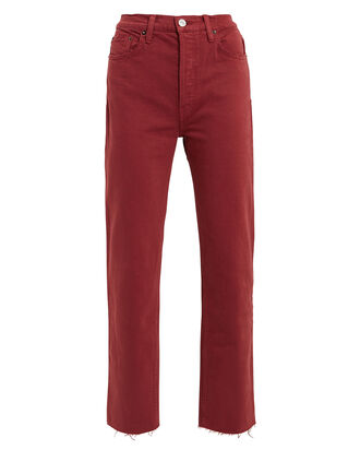 High-Rise Stove Pipe Jeans, BURGUNDY, hi-res