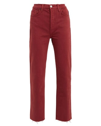 High-Rise Stove Pipe Jeans, RED-DRK, hi-res
