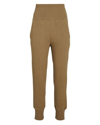 So High-Waisted Terry Sweatpants, BEIGE, hi-res