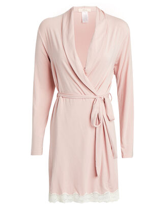 Lady Godiva Lace-Trimmed Robe, PINK, hi-res