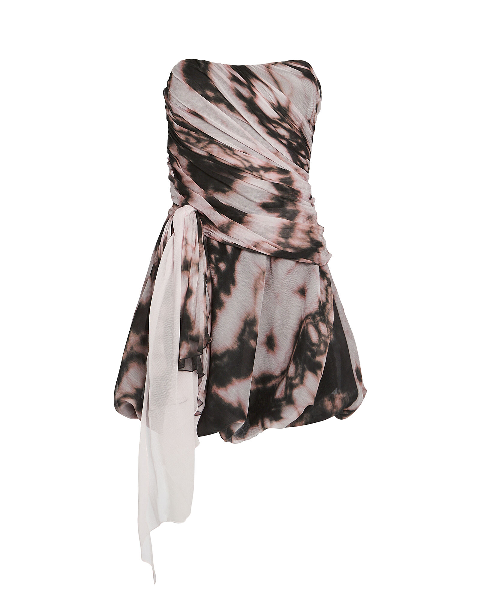 Draped Tie-Dye Bustier Dress, BLUSH/CHARCOAL TIE-DYE, hi-res
