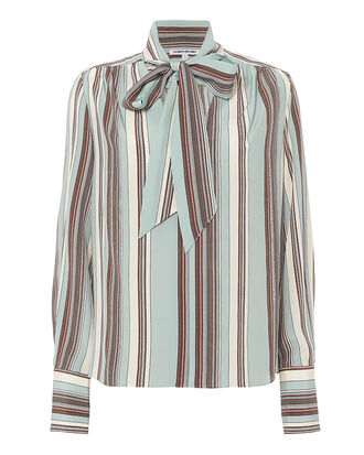 Mimi Neck Tie Striped Blouse, BLUE/STRIPE, hi-res