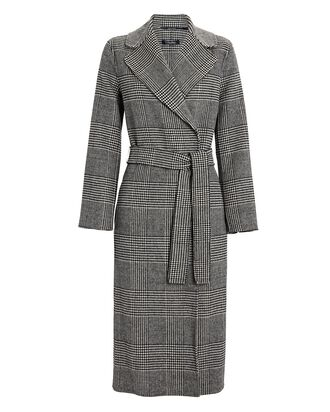 Fiorito Houndstooth Wool Wrap Coat, BLACK, hi-res