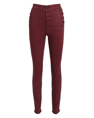 Natasha Dark Red Coated Skinny Jeans, DARK RED DENIM, hi-res