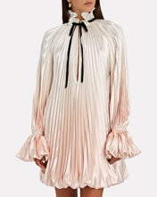 Pleated Tie-Neck Mini Dress, WHITE/PINK, hi-res