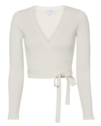 Vanessa Wrap Top, WHITE, hi-res