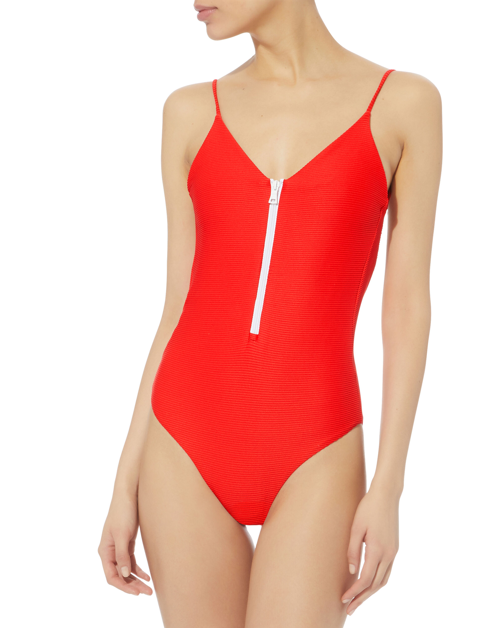 Zip Front One Piece Swimsuit, ROSE, hi-res