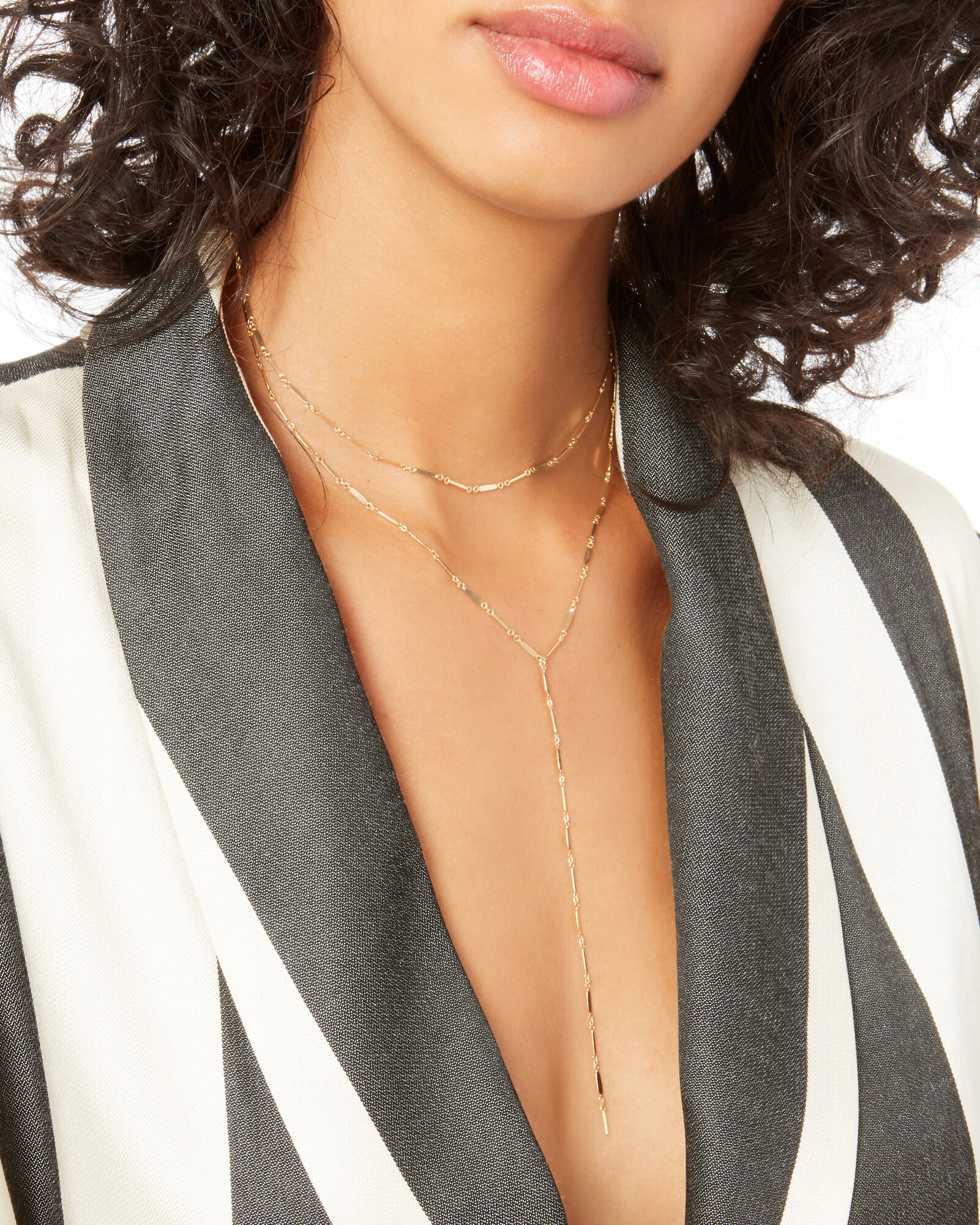 Mirror Bar Layered Lariat Necklace, GOLD, hi-res