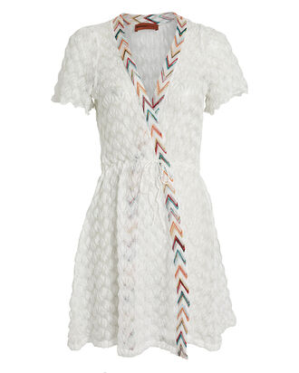 Chevron-Trimmed Wrap Dress, WHITE/RAINBOW, hi-res
