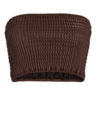 Davis Vegan Leather Bandeau Top, BROWN, hi-res