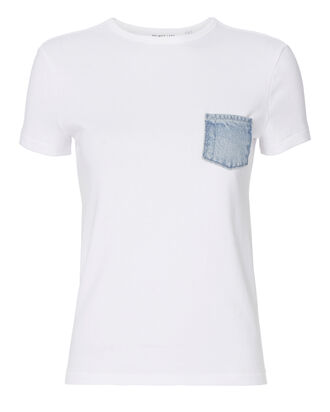 White Denim Pocket Tee, WHITE, hi-res