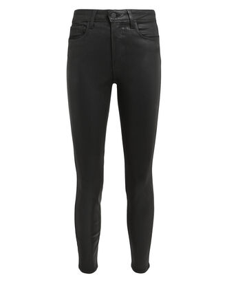 Margot Black Coated High-Rise Ankle Skinny Jeans, BLACK, hi-res