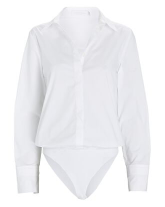 Poplin Button-Down Bodysuit, WHITE, hi-res