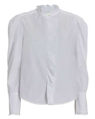 Orlana Embroidered Poplin Top, WHITE, hi-res