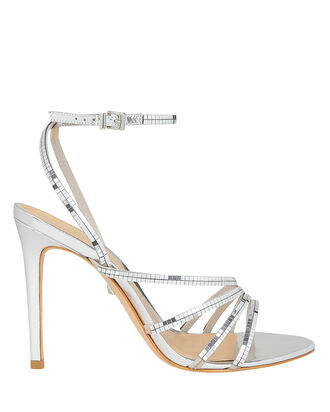 Constancia Silver Stiletto Sandals, SILVER, hi-res