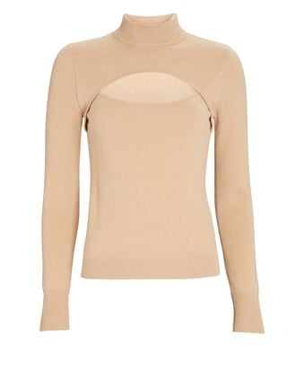 Angelou Cashmere Cut-Out Sweater, BEIGE, hi-res