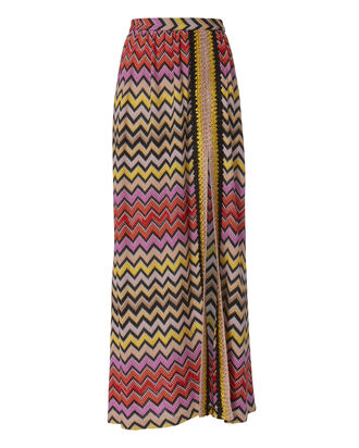 Zig Zag High Slit Maxi Skirt, MULTI, hi-res
