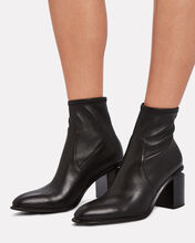 Anna Stretch Leather Booties, BLACK, hi-res