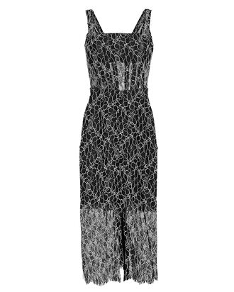 Vein Lace Corset Midi Dress, BLK/WHT, hi-res