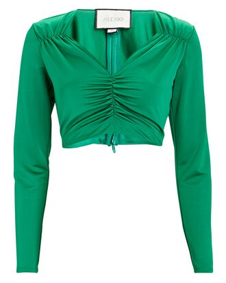 Sari Long Sleeve Crop Top, GREEN, hi-res
