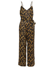Jaelyn Animal-Printed Silk Jumpsuit, BROWN/GIRAFFE, hi-res