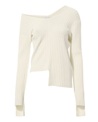 Off Shoulder Rib Knit Sweater, GREY-LT, hi-res