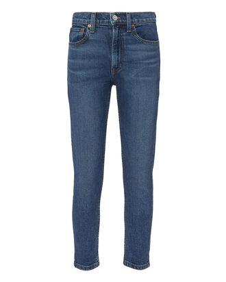 Comfort Stretch High-Rise Ankle Crop Jeans, DARK INDIGO DENIM, hi-res