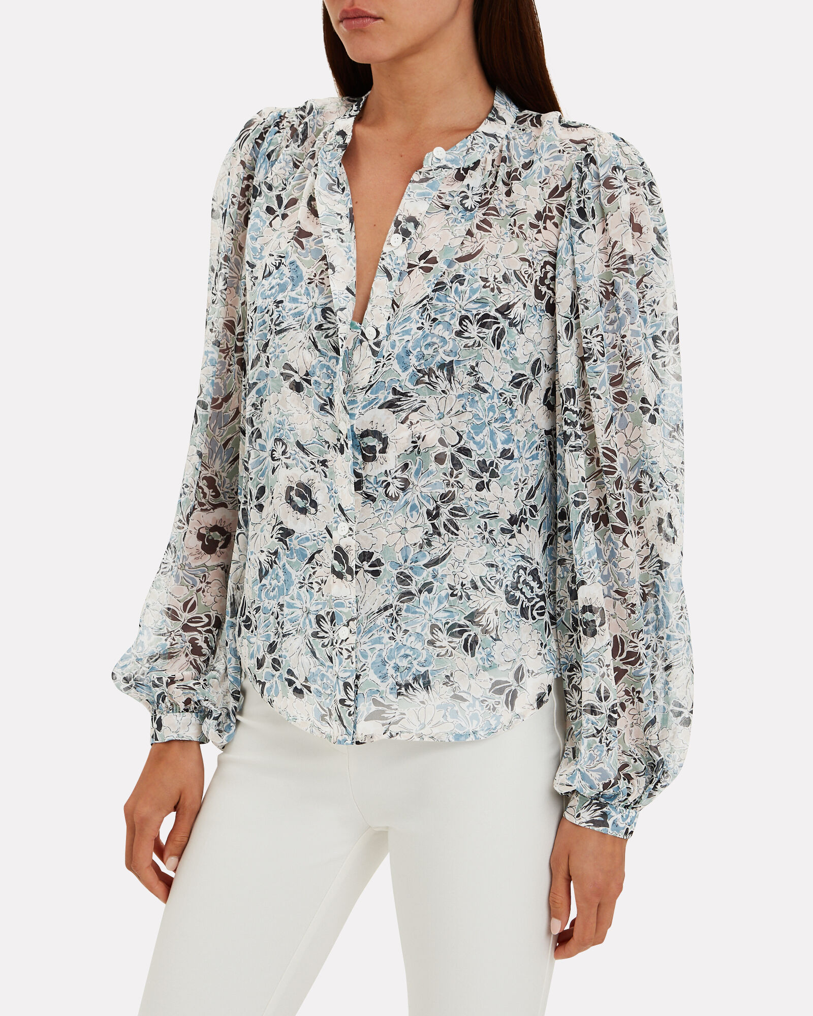 Ashlynn Silk Floral Blouse, BLUE/WHITE, hi-res