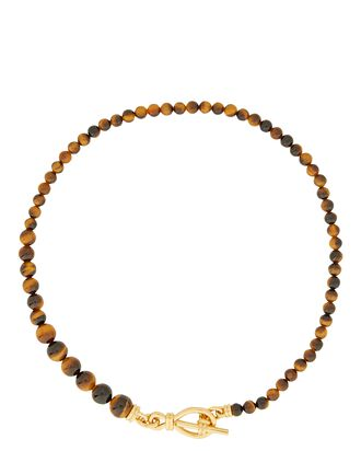 Graduated Malachite Beaded Necklace, BROWN, hi-res